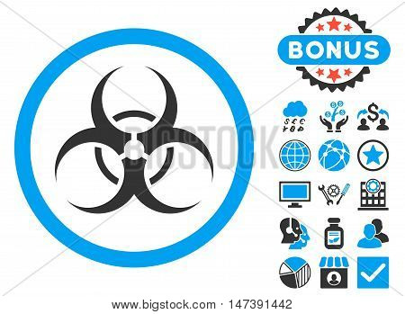 Biohazard Symbol icon with bonus elements. Glyph illustration style is flat iconic bicolor symbols, blue and gray colors, white background.