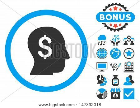 Businessman icon with bonus elements. Glyph illustration style is flat iconic bicolor symbols, blue and gray colors, white background.