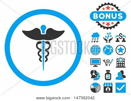 Caduceus icon with bonus design elements. Glyph illustration style is flat iconic bicolor symbols, blue and gray colors, white background.