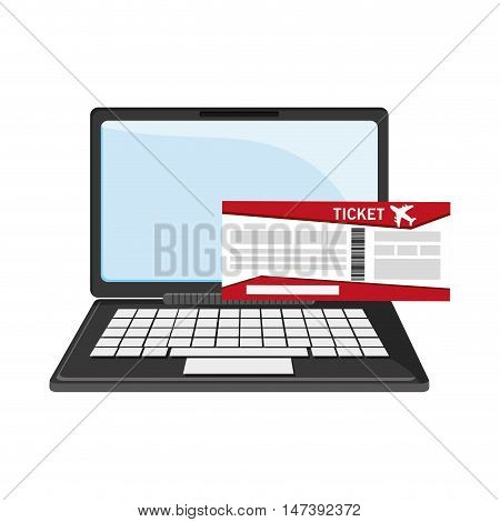 flat design laptop and boarding pass icon vector illustration