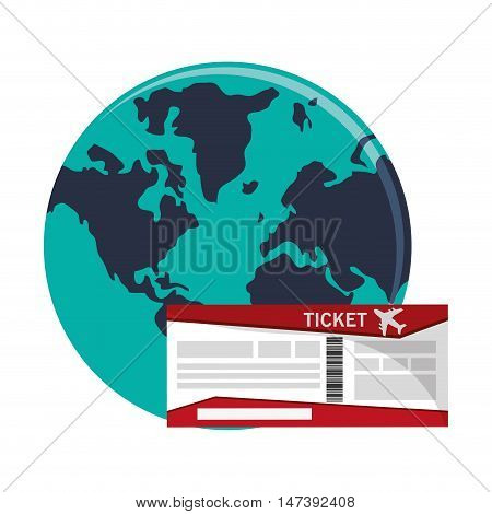 flat design boarding pass and  earth globe icon vector illustration