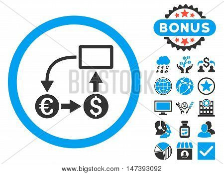 Cashflow Euro Exchange icon with bonus images. Glyph illustration style is flat iconic bicolor symbols, blue and gray colors, white background.