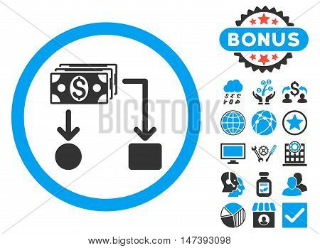 Cashflow icon with bonus elements. Glyph illustration style is flat iconic bicolor symbols, blue and gray colors, white background.