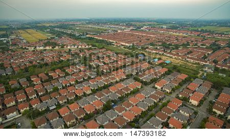 aerial view of home village in thailand use for land development and property real estate business