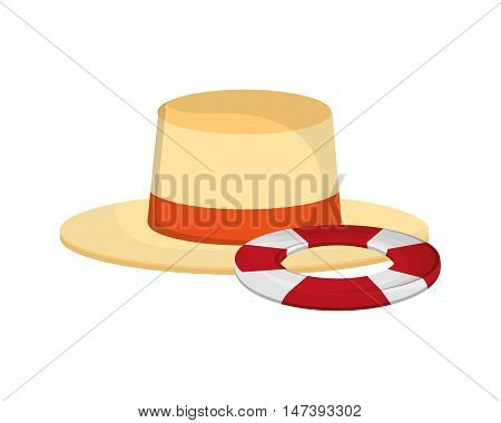 flat design hat and life preserver icon vector illustration