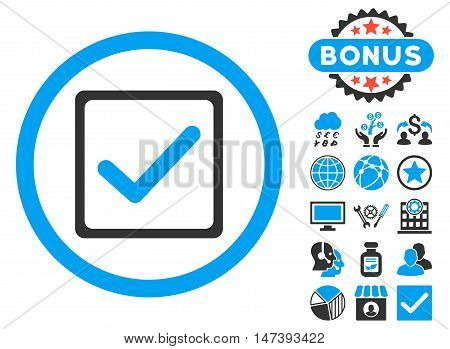 Checkbox icon with bonus design elements. Glyph illustration style is flat iconic bicolor symbols, blue and gray colors, white background.