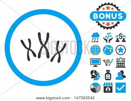 Chromosomes icon with bonus pictures. Glyph illustration style is flat iconic bicolor symbols, blue and gray colors, white background.