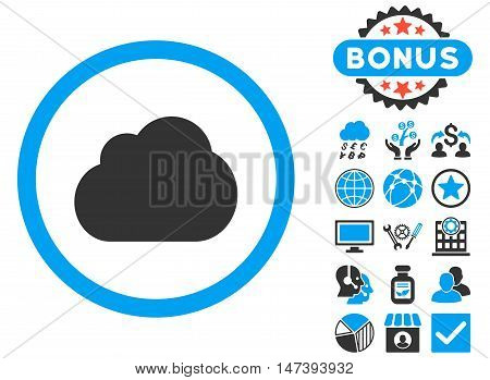 Cloud icon with bonus symbols. Glyph illustration style is flat iconic bicolor symbols, blue and gray colors, white background.