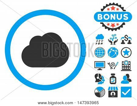 Cloud icon with bonus images. Glyph illustration style is flat iconic bicolor symbols, blue and gray colors, white background.