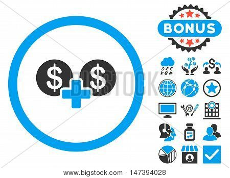 Coins Sum icon with bonus symbols. Glyph illustration style is flat iconic bicolor symbols, blue and gray colors, white background.