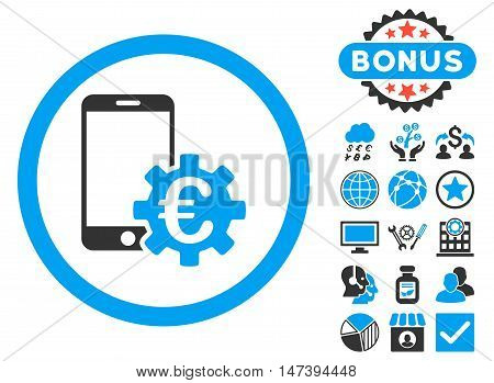 Configure Mobile Euro Bank icon with bonus pictures. Glyph illustration style is flat iconic bicolor symbols, blue and gray colors, white background.