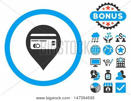 Credit Card Pointer icon with bonus symbols. Glyph illustration style is flat iconic bicolor symbols, blue and gray colors, white background.