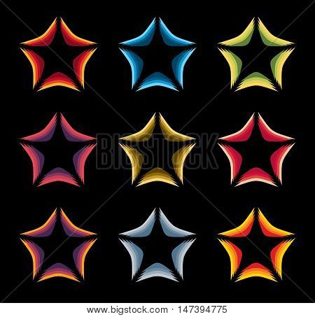 Isolated abstract colorful stars contour logo set on the black baackground. Rating element logotypes collection. Celebrities symbol. Decorative signs. Vector illustration