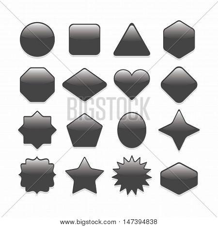 Basic black geometrical shape web buttons complete set on white background