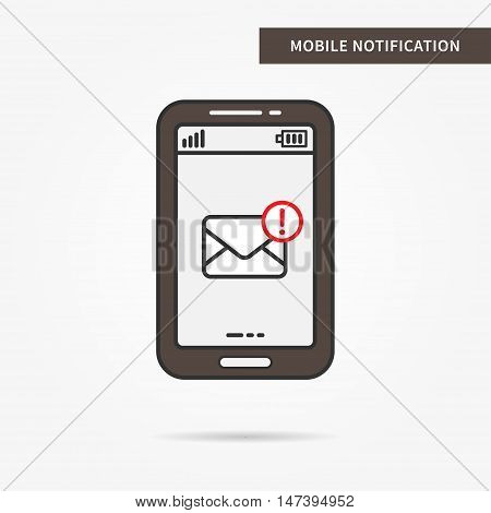 Linear mobile mail notification. Flat web mail notice. Mail message symbol. Creative concept phone mail graphic design banner. Vector mail notice illustration. Mobile online messaging technology.