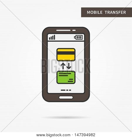 Linear mobile transfer process. Flat transfer with credit cards and arrows. Creative concept phone banking cards transaction. Money transfer app icon. Vector financial technology sign illustration.