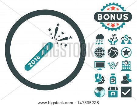 2016 Firecracker icon with bonus elements. Vector illustration style is flat iconic bicolor symbols, soft blue colors, white background.