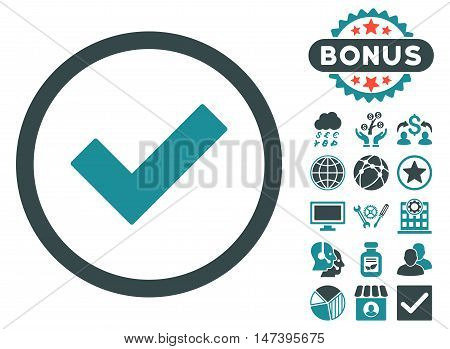 Accept icon with bonus images. Vector illustration style is flat iconic bicolor symbols, soft blue colors, white background.