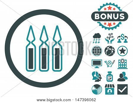 Ampoules icon with bonus images. Vector illustration style is flat iconic bicolor symbols, soft blue colors, white background.