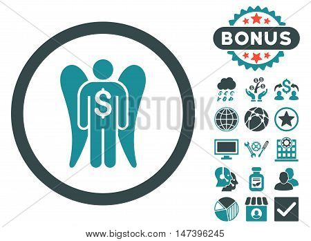 Angel Investor icon with bonus images. Vector illustration style is flat iconic bicolor symbols, soft blue colors, white background.