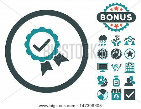 Approved icon with bonus images. Vector illustration style is flat iconic bicolor symbols, soft blue colors, white background.