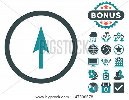 Arrow Axis Y icon with bonus design elements. Vector illustration style is flat iconic bicolor symbols, soft blue colors, white background.