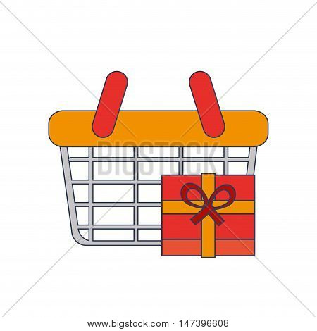 flat design shopping basket and giftbox  icon vector illustration