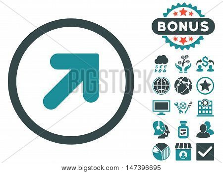 Arrow Up Right icon with bonus pictures. Vector illustration style is flat iconic bicolor symbols, soft blue colors, white background.