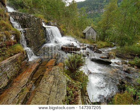 Waterfall Tvindefossen, Norway. Tvindefossen is a waterfall near Voss, Norway.