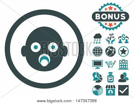Baby Head icon with bonus images. Vector illustration style is flat iconic bicolor symbols, soft blue colors, white background.