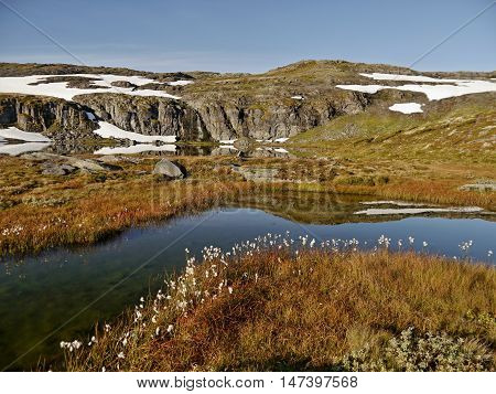 Glacial lake and tundra in the Norwegian mountains