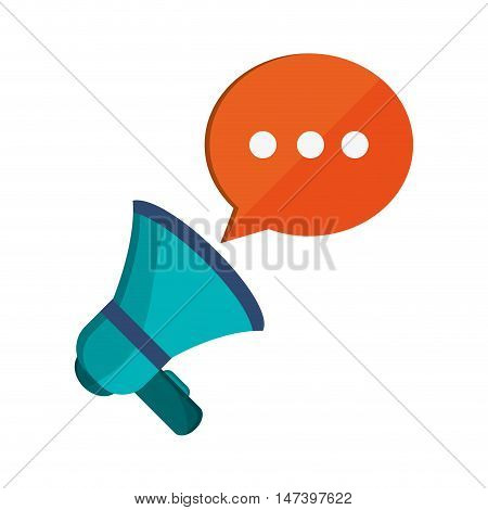 flat design megaphone and  conversation bubble icon vector illustration