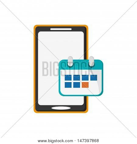 flat design modern cellphone and calendar icon vector illustration