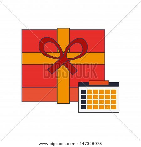 flat design giftbox and calendar  icon vector illustration