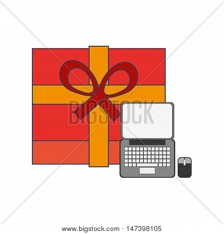flat design giftbox and computer icon vector illustration