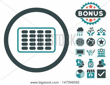 Blister icon with bonus pictogram. Vector illustration style is flat iconic bicolor symbols, soft blue colors, white background.