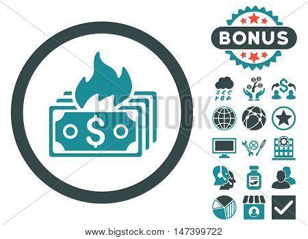 Burn Banknotes icon with bonus pictogram. Vector illustration style is flat iconic bicolor symbols, soft blue colors, white background.