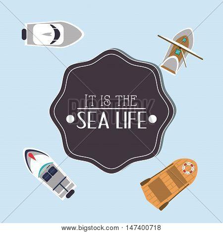 sea life emblem image vector illustration design