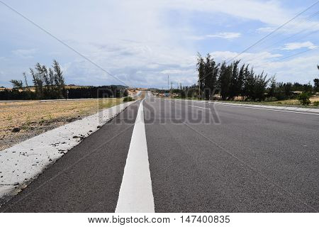 asphalt highway road with white line pavement