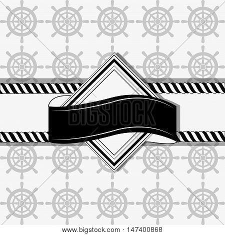 nautical rudder and banner emblem image vector illustration