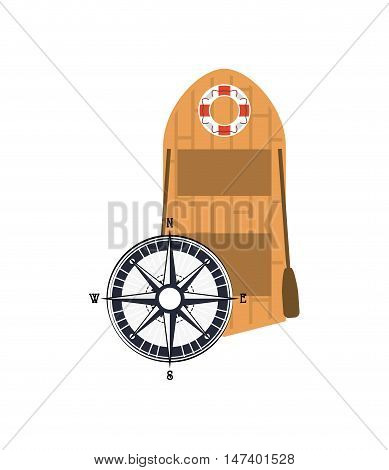 flat design rowing boat and compass  icon vector illustration
