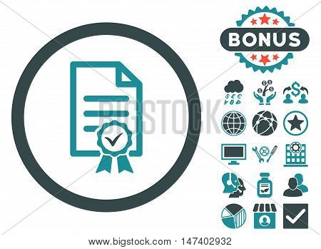 Certified icon with bonus design elements. Vector illustration style is flat iconic bicolor symbols, soft blue colors, white background.