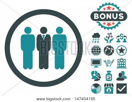 Clerk Staff icon with bonus symbols. Vector illustration style is flat iconic bicolor symbols, soft blue colors, white background.