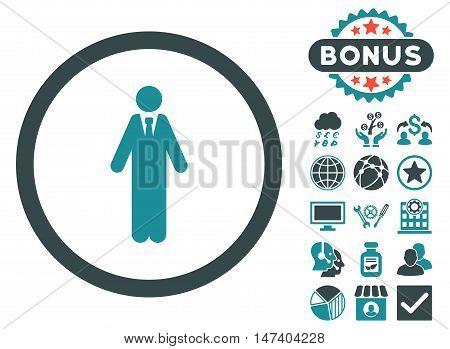 Clerk icon with bonus elements. Vector illustration style is flat iconic bicolor symbols, soft blue colors, white background.