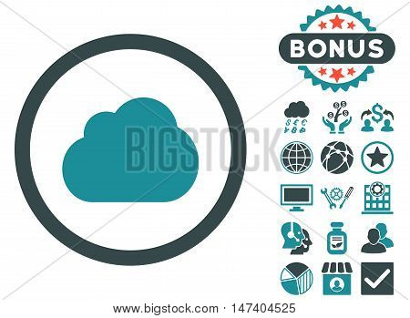 Cloud icon with bonus pictures. Vector illustration style is flat iconic bicolor symbols, soft blue colors, white background.