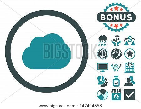 Cloud icon with bonus design elements. Vector illustration style is flat iconic bicolor symbols, soft blue colors, white background.