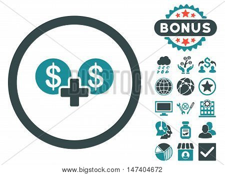 Coins Sum icon with bonus symbols. Vector illustration style is flat iconic bicolor symbols, soft blue colors, white background.