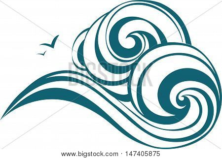 Decorative waves with gull. Vecor sea ornament