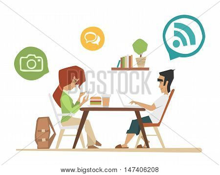 Student youth street urban cafe color vector illustration