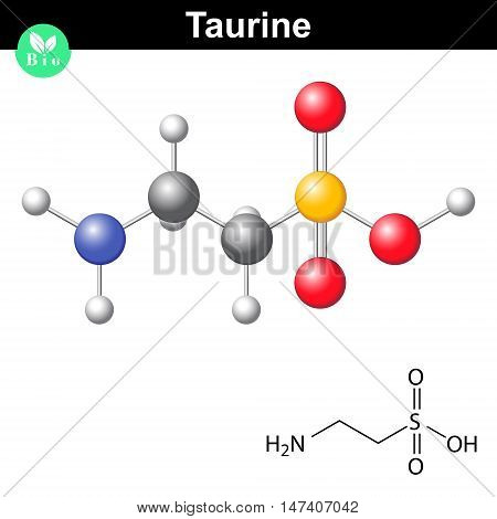 Taurine chemical formula and model 2d and 3d illustration vector on white background eps 8